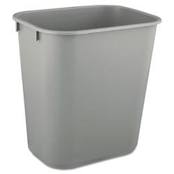Rubbermaid Deskside Plastic Wastebasket, Rectangular, 3.5 gal, Gray