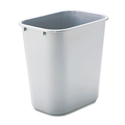 Rubbermaid Rectangle Plastic Desk Wastebasket, 28 1/8 Quart, Gray