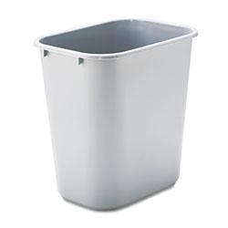 Rubbermaid Deskside Plastic Wastebasket, Rectangular, 7 gal, Gray