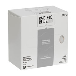 Pacific Blue Basic Recycled 3-Ply Disposable Delicate Task Wiper (Previously AccuWipe®), Large, White, 280 Wipers/Box, 60 Boxes/Case, Wiper (WxL) 4.5 in x 7.9 in