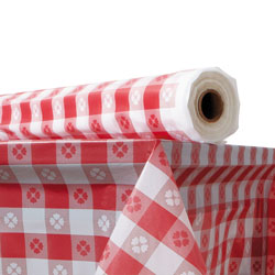 "Atlantis Plastics 2TCR300GIN Red Gingham Plastic Table Cover, 40"" x 300'"