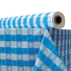 Atlantis Plastics Plastic Table Cover, 40 in x 300 ft Roll, Blue Gingham