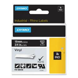 Dymo Rhino Permanent Vinyl Industrial Label Tape, 0.75 in x 18 ft, Black/White Print