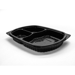 Anchor Packaging MicroRaves 3 Compartment Platter, 10 1/2 in x 7 1/4 in, Black