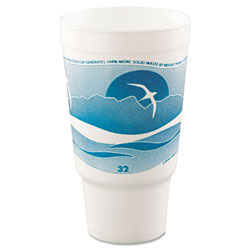 Dart 32AJ20H Teal Design 32 Ounce Foam Cups with Pedestal