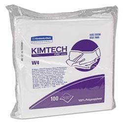 Kimtech* W4 Critical Task Wipers, Flat Double Bag, 12x12, White, 100/Pack, 5 Packs/Carton