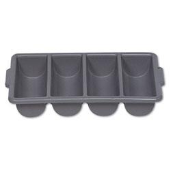 Rubbermaid Cutlery Bin, 4 Compartments, Plastic, Gray
