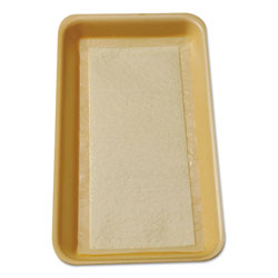 International Tray Pads Meat Tray Pads, 6w x 4 1/2d, White/Yellow, 1000/Carton