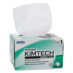 Kimtech* Kimwipes, Delicate Task Wipers, 1-Ply, 4 2/5 x 8 2/5, 280/Box,16800/Ct