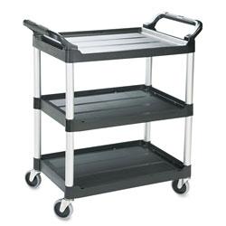Rubbermaid Economy Plastic Cart, Three-Shelf, 18.63w x 33.63d x 37.75h, Black