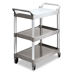 Rubbermaid Economy Plastic Cart, Three-Shelf, 18.63w x 33.63d x 37.75h, Platinum
