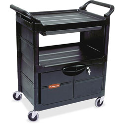 Rubbermaid Black Utility Cart with Lockable Doors and Sliding Drawer
