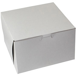 "BOXit White Bakery Box, 8"" x 8"" x 4"""
