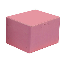 BOXit Pink Bakery Box, 4 in x 4 in x 4 in
