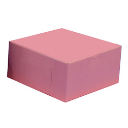 BOXit Pink Bakery Box, 10 in x 10 in x 4 in
