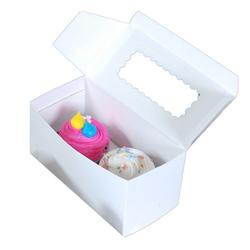 BOXit White 2 Cupcake Box, 8 in x 4 in x 4 in