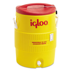 Igloo Industrial Water Cooler, 10 gal, Yellow/Red