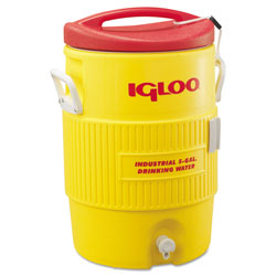 Igloo Industrial Water Cooler, 5 gal, Yellow/Red