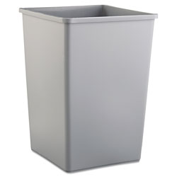 Rubbermaid Square Plastic Indoor Trash Can, 35 Gallon, Gray