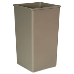 Rubbermaid Untouchable Waste Container, Square, Plastic, 50 gal, Beige