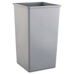 Rubbermaid Untouchable Square Waste Receptacle, Plastic, 50 gal, Gray