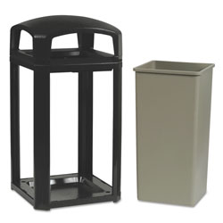 Rubbermaid Square Metal Outdoor Trash Can, 45 Gallon, Satin Aluminum