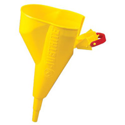 Justrite Polyethylene Funnel, Type I Safety Cans, 1/2 in, Yellow
