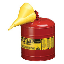 Justrite Safety Can, Type I, 5gal, Red, With Funnel