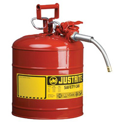 Justrite Type II AccuFlow Safety Can, 2.5gal, Red, 5/8in Diameter Hose