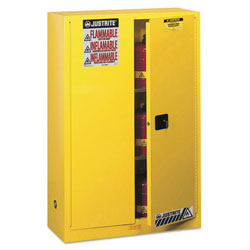 Justrite Sure-Grip EX Standard Safety Cabinet, 43w x 18d x 65h, Yellow