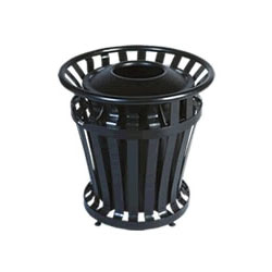 Rubbermaid Round Metal Outdoor Trash Can, 32 Gallon, Black
