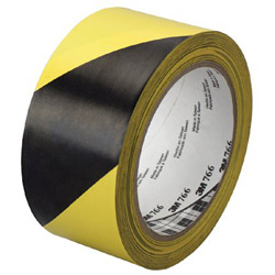 "3M Hazard Warning Tape 766, Black/yellow 2"" x 36yd"