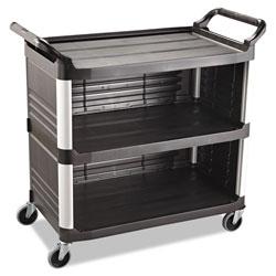 Rubbermaid Xtra Utility Cart, 300-lb Capacity, Three-Shelf, 20w x 40.63d x 37.8h, Black