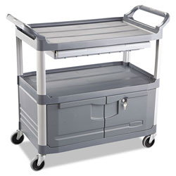 Rubbermaid Xtra Instrument Cart, 300-lb Capacity, Three-Shelf, 20w x 40.63d x 37.8h, Gray