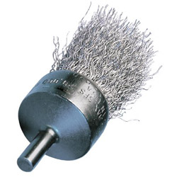 "Advance Brush 1"" Crimped Wire End Brush .006 , Stainless Steel Wire 1/4"" Shk"