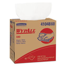 WypAll* X80 Cloths, HYDROKNIT, POP-UP Box, 9 1/10 x 16 4/5, White, 80/Bx, 5 Boxes/Carton