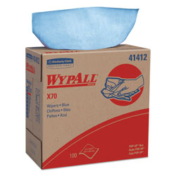 WypAll* X70 Cloths, POP-UP Box, 9 1/10 x 16 4/5, Blue, 100/Box, 10 Boxes/Carton