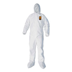 KleenGuard* A40 Elastic-Cuff, Ankle, Hood and Boot Coveralls, Large, White, 25/Carton