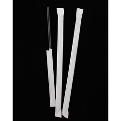 Netchoice 8.25 in Black Wrapped Super Jumbo Straw, Case of 7200