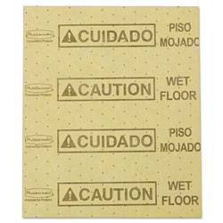 Rubbermaid Over-the-Spill Pad,  inCaution Wet Floor in, Yellow, 16 1/2 in x 20 in, 22 Sheets/Pad