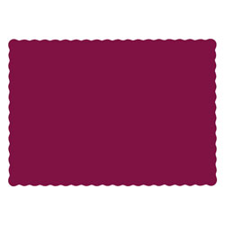 Hoffmaster Solid Color Scalloped Edge Placemats, 9.5 x 13.5, Burgundy, 1,000/Carton