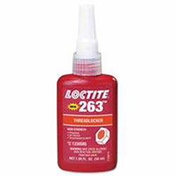 Loctite 263 Red Threadlockers, 50 mL, 1 in Thread, Red