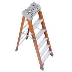 Louisville Ladder Fiberglass Heavy Duty Step Ladder, 73 3/5 in, 5-Step, Orange
