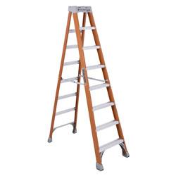 Louisville Ladder FS1500 Series Fiberglass Step Ladder, 8 ft, 5-Step, Red