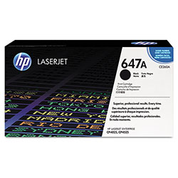HP 647A Black Toner Cartridge, Model CE260A, Page Yield 8500