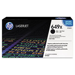 HP 649X Black Toner Cartridge, Model CE260X, Page Yield 17000