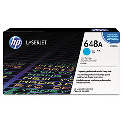 HP 648A Cyan Toner Cartridge, Model CE261A, Page Yield 11000
