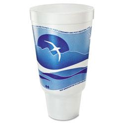 Dart Horizon Flush Fill Foam Cup, Hot/Cold, 44 oz., Ocean Blue/White, 15/Bag