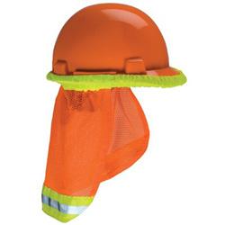 MSA Hard Hat Sunshade, 20 in, Hi-Viz Orange, Yellow-Lime Band