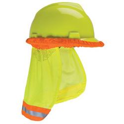 MSA Hard Hat Sunshade, 20 in, Hi-Viz Yellow, Orange Band
